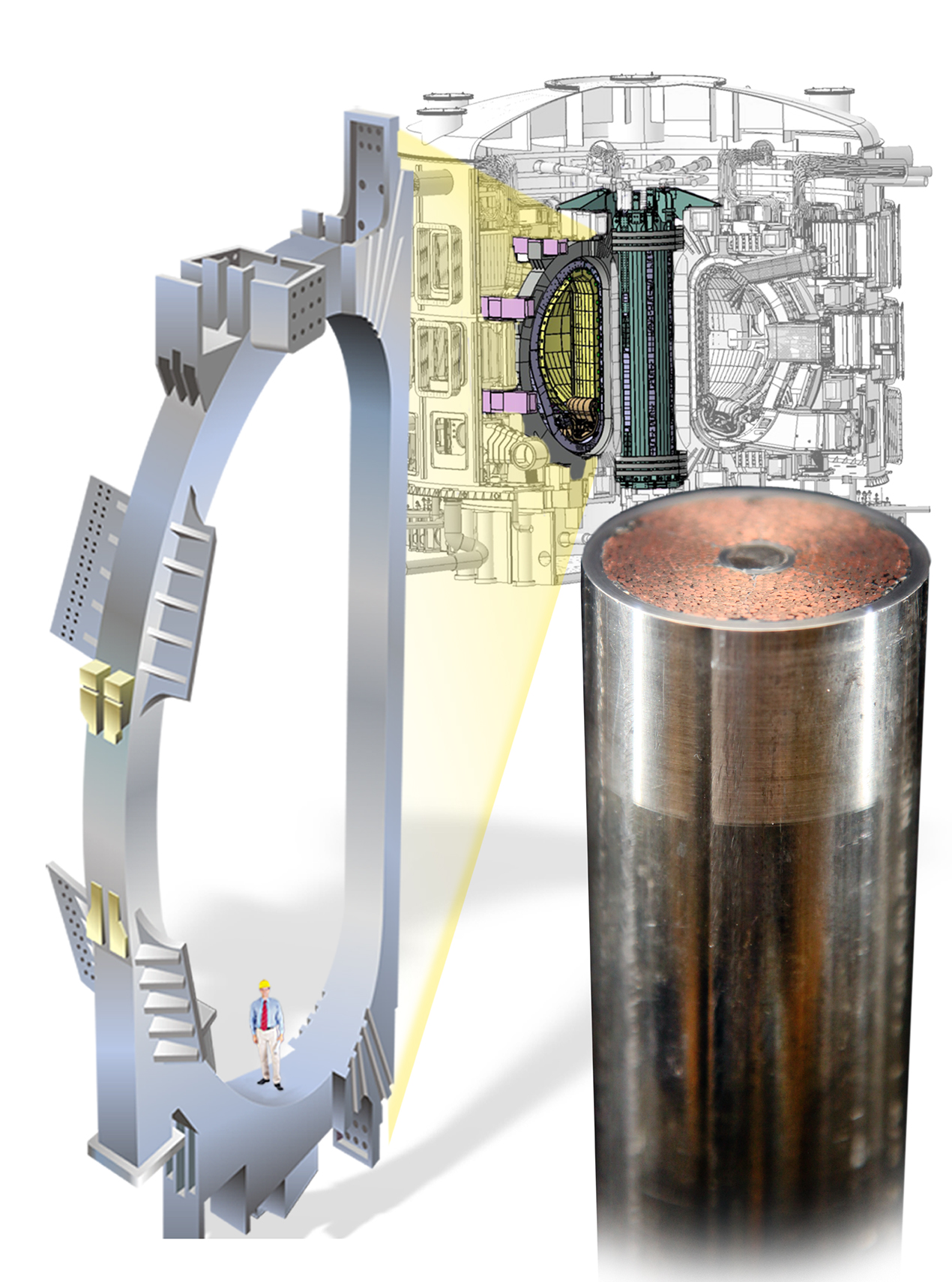 Left: A drawing of single toroidal field coil shows the scale of the ITER tokamak. Right: The compacted strand is visible around the helium cooling channel in the middle of the finished conductor. Source: US ITER