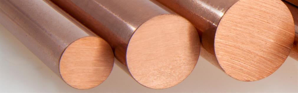 Runde Kupferstäbe mit unterschiedlichen Durchmessern mit CuZr-, CuCr1Zr- und CuNiSi-Legierungen