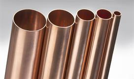 Shiny copper tubes in various dimensions and sizes