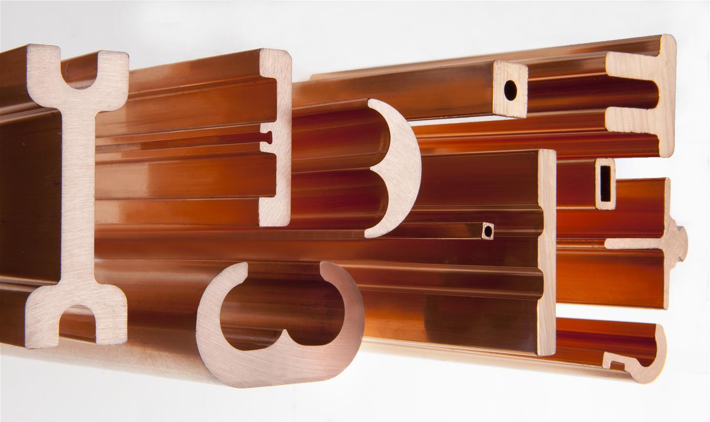 Several demanding copper profile shapes