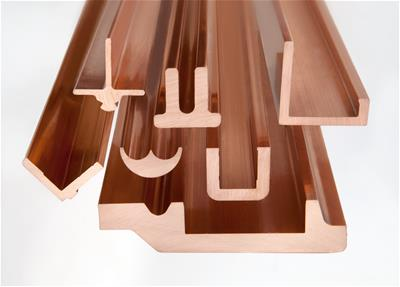 Shiny copper profiles in different sizes and shapes